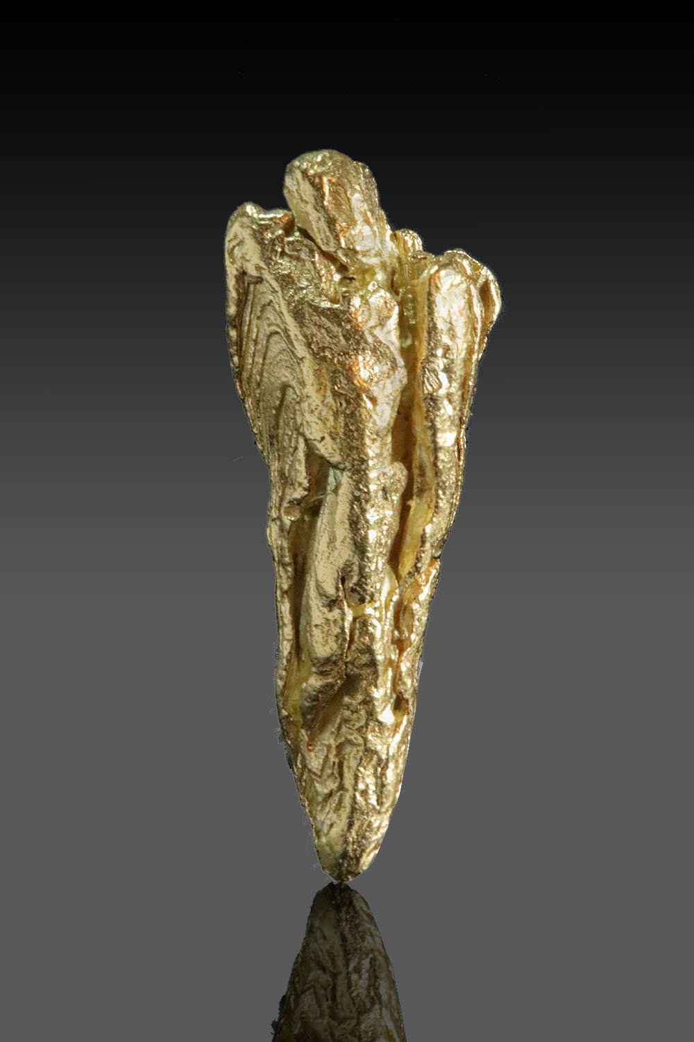 Gold Crystal Pointed Triangle - Striated Yukon Gold Crystal